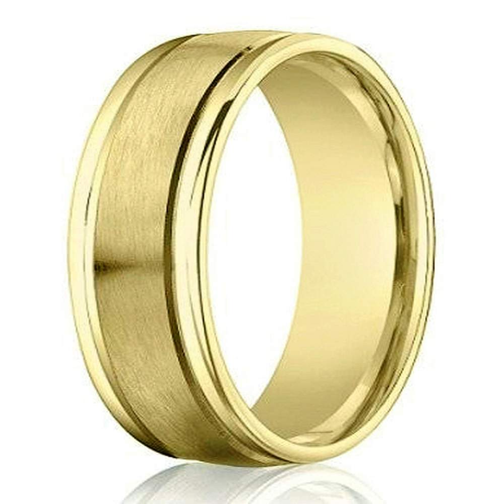 Designer 4 mm Engraved & Satin Finish 14K Yellow Gold Wedding Band - JB1133
