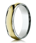 Designer 6 mm Two-toned Polished Finish 14K Yellow & White Gold Wedding Band - JB1148