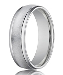Designer 4 mm Sand Blasted Finish 14K White Gold Wedding Band - JB1153