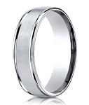 Palladium Designer  Wedding Band with Domed Profile and Polished Edges | 6mm - JB1160