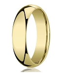 18K Yellow Gold Men's Designer Wedding Band, Plain Dome | 5mm