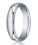 Men's 18K White Gold Designer Wedding Ring with Milgrain | 5mm