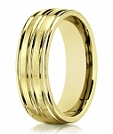 Men's 18K Yellow Gold Designer  Ring with 3 Polished Grooves | 8mm