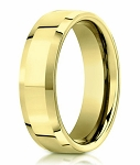 18K Yellow Gold Beveled Edge Designer Men's Wedding Ring | 6mm