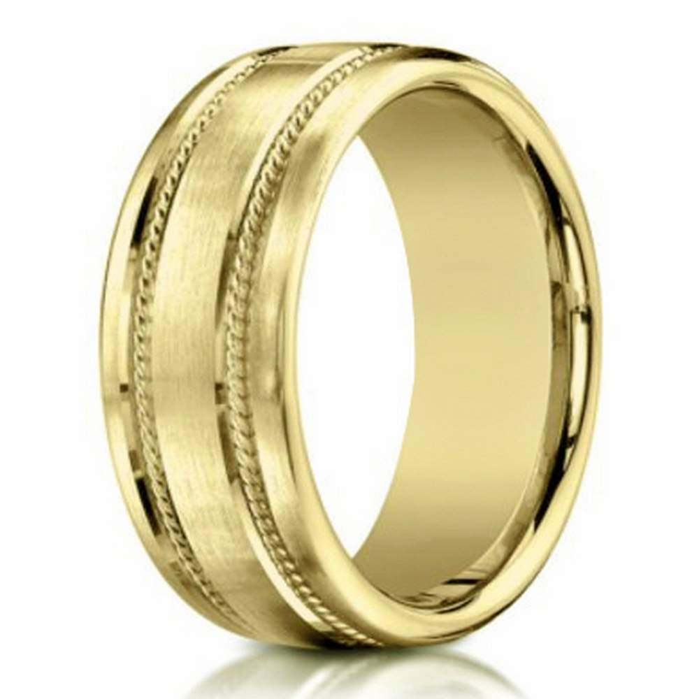 mens 18k yellow gold designer wedding band rope details 75mm - Mens Gold Wedding Rings