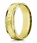 Hammered Center 18K Yellow Gold Designer Ring For Men | 6mm