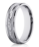 18K White Gold Wedding Band for Men, Carved Arrow Design | 6mm