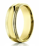 Double Edged 18K Yellow Gold Designer Men's Wedding Ring | 7.5mm