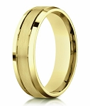 Designer Satin-Finished 14K Yellow Gold Wedding Ring with Polished Beveled Edges | 6mm - JB3007