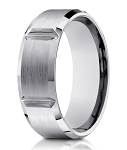 Designer 14K White Gold Men's Ring With Polished Grooves | 8mm