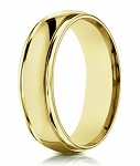 Traditional Men's 14K Yellow Gold Wedding Band, Double Edges | 6mm