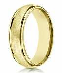Swirl Finished Men's 14K Yellow Gold Designer Wedding Band | 6mm