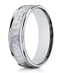 Hammered Center Men's 14K White Gold Designer Ring | 6mm