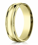 Men's 14K Yellow Gold Designer Wedding Band with Milgrain | 6mm