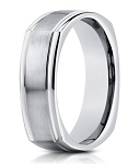 Designer Men's 14K Satin Finish White Gold Ring, Square | 7mm