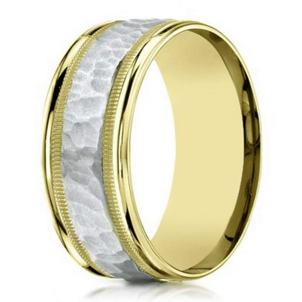 8mm men's two tone 14k yellow gold hammered center wedding ring
