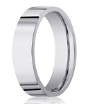 14K White Gold Designer Wedding Ring For Men With Flat Profile, 6mm