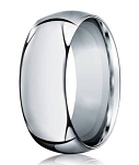 Designer Men's Domed Profile Wedding Band in 14K White Gold, 10mm