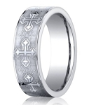 Designer Cobalt Chrome Men's Christian Wedding Ring With Crosses | 7mm