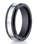 Designer Cobalt Chrome and Black Ceramic Men's Wedding Ring | 7mm