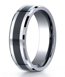 Designer Cobalt Chrome Men's Wedding Ring With Ceramic Inlay | 7mm