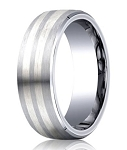Designer Cobalt Chrome Men's Wedding Ring With Silver Bands | 8mm
