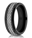 Designer Black Cobalt Chrome Ring for Men with Carbon Fiber Inlay | 8mm