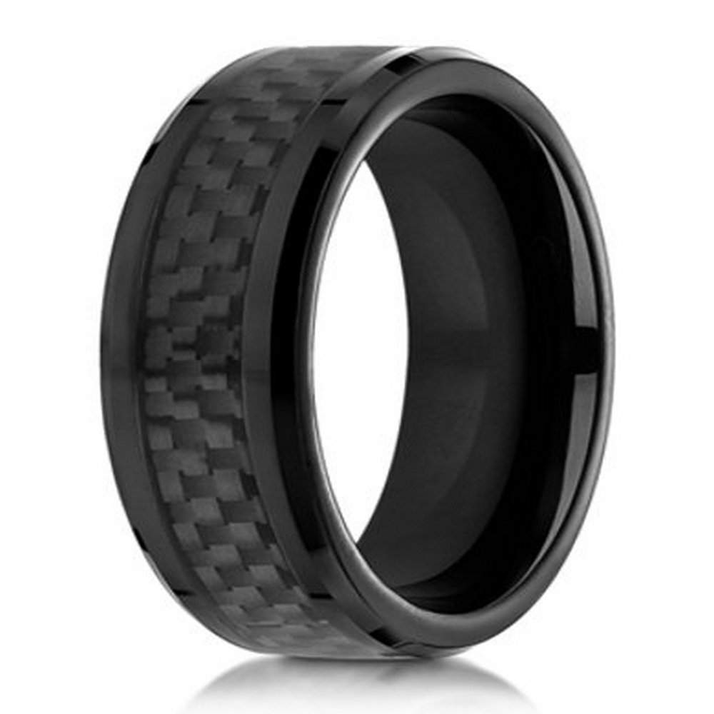 On Sale Cobalt Chrome Men's Designer Ring in Black with Carbon Fiber | 8mm