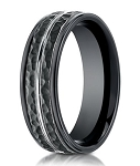 Hammered Finish Designer Cobalt Chrome Ring for Men in Black | 8mm