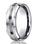 Designer Cobalt Chrome Men's Wedding Ring With Black Diamonds | 7.5mm