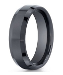 On Sale Men's Black Seranite Designer Band with Beveled Edges | 7mm