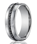 Men's 14K White Gold Diamond Designer Ring with 20 Black Diamonds | 7.5mm - JBD1009