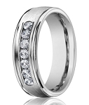 14K White Gold Men's Designer Ring With Channel Set Diamonds | 6mm