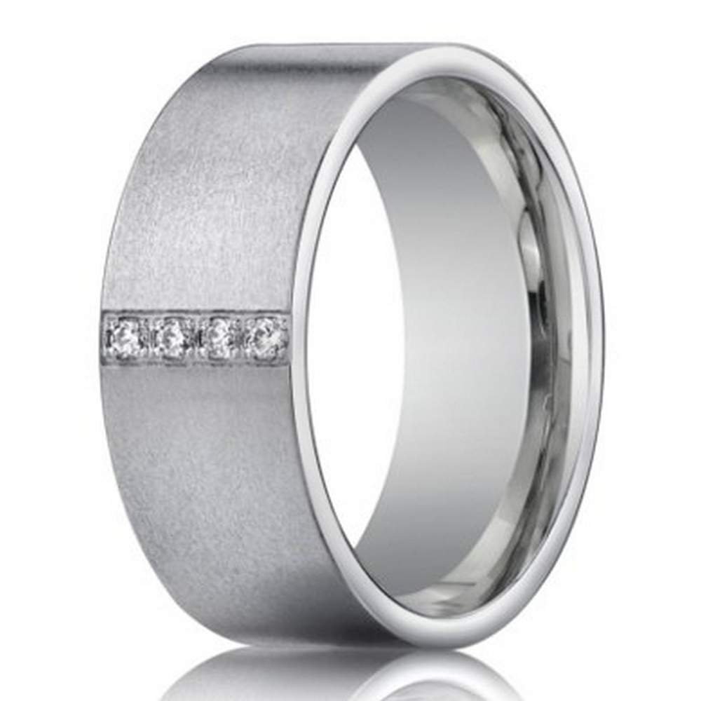 14k white gold wedding ring with 4 diamonds for men | 8mm width
