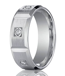 Contemporary Diamond Eternity White Gold Wedding Band for Men | 8mm