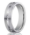 Designer Men's 14K White Gold Diamond Wedding Ring, Eternity Style | 6mm
