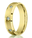 Bezel Set Diamond Wedding Ring for Men, 14K Yellow Gold | 6mm
