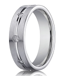 Men's 14K White Gold Diamond Eternity Wedding Ring, Bezel Set | 6mm