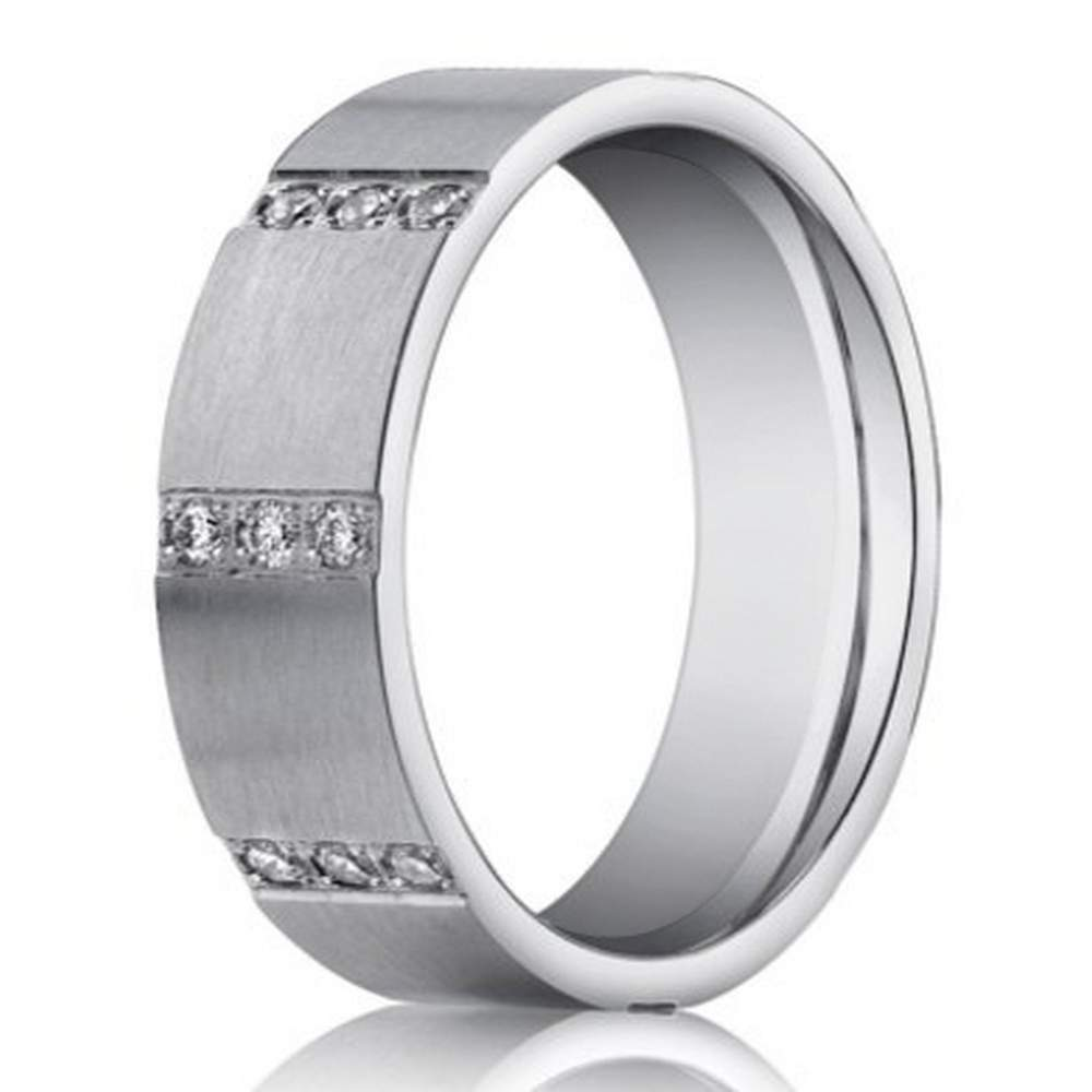 6mm mens 14k white gold wedding band pave diamond rows justmensringscom - Mens Silver Wedding Rings