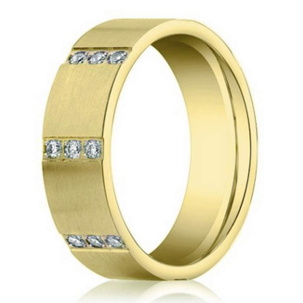 Contemporary Men's Yellow Gold Diamond Eternity Designer Band | 6mm