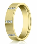 Contemporary Men's Yellow Gold Diamond Eternity Wedding Band | 6mm