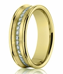 14K Yellow Gold Men's Wedding Ring with Pave Set Diamonds | 7.5mm