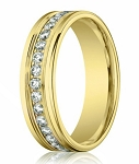 Channel Set Diamond Eternity Designer Ring for Men in 14K Yellow Gold | 4mm