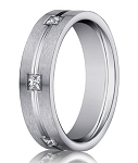 14K White Gold Diamond Eternity Ring for Men, Burnish Set | 6mm