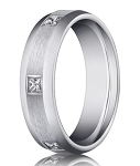 Designer 14K White Gold Men's Burnish Set Diamond Ring, Eternity Style | 6mm