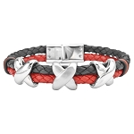 Leather and Stainless Steel Two-Tone Men's Bracelet - JBR1003
