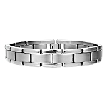 Men's Titanium Bracelet with Matte and Polished Links  - JBR1008