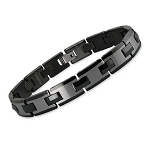 Men's Two-Tone Black and Gunmetal Tungsten Bracelet - JBR1020