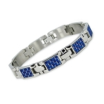 Men's Titanium Bracelet with Blue Carbon Fiber Inlay  -  JBR1022