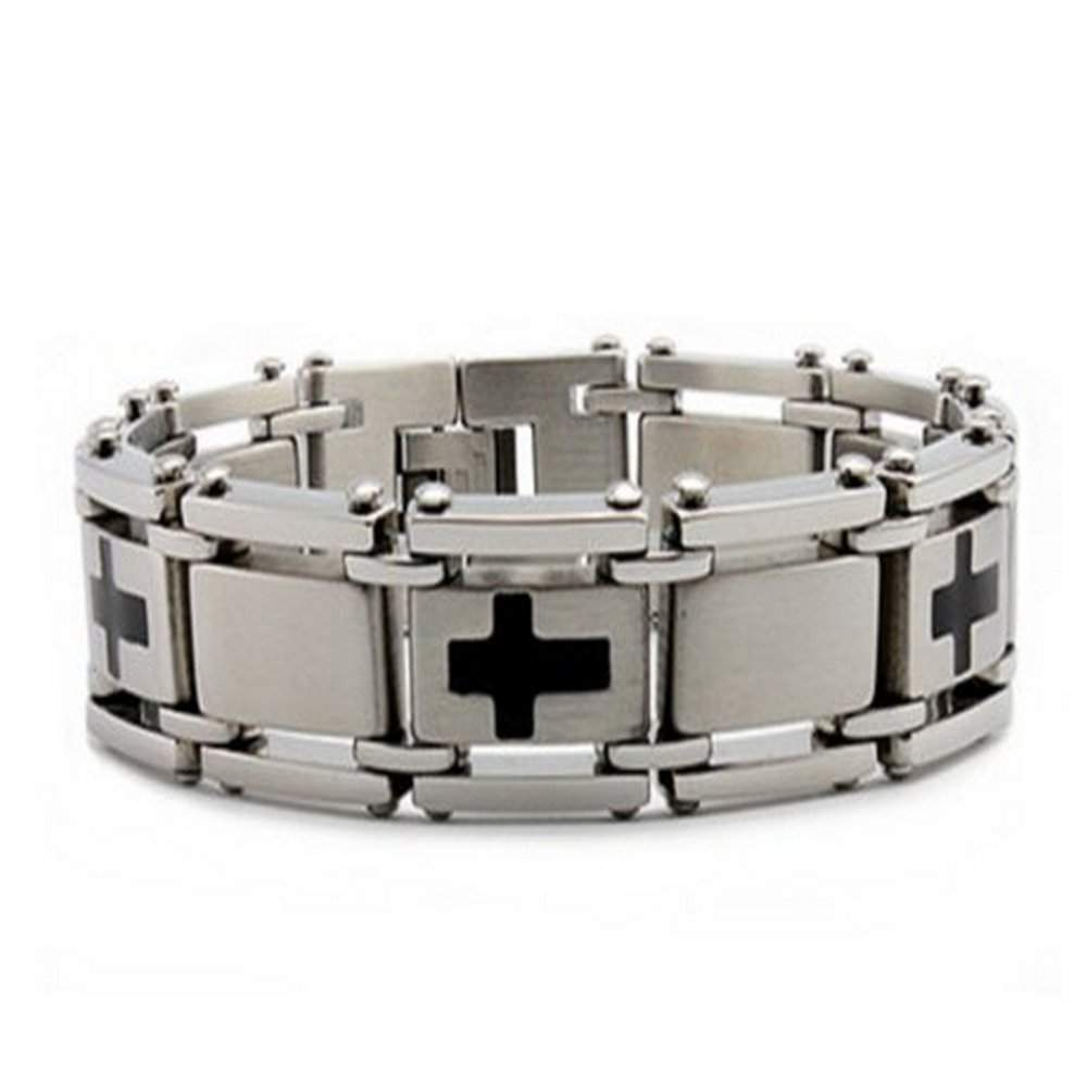 Stainless Steel Men's Bracelet With Five Black Crosses